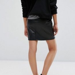 Дамска кожена пола Black