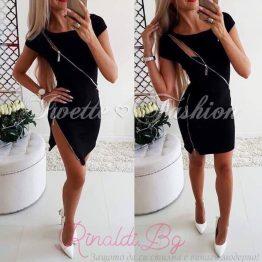 Дамска черна рокля с ципове