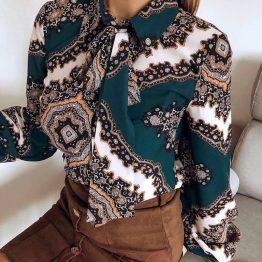 Дамска копринена риза с декорации