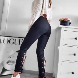 Дамски велурен панталон с връзки