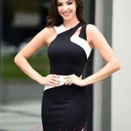 """Дамска черно-бяла дизайнерска рокля """"Елена"""""""