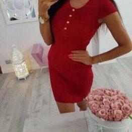 Дамска рокля с копчета рипс