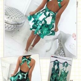 "Дамска зелена рокля с гол гръб ""Грийн"""