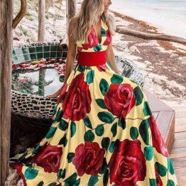 Дълга дамска рокля с рози