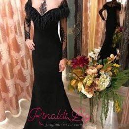 "Дизайнерска дамска рокля с пера ""Дарк Шайн"""