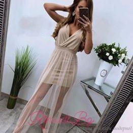 Секси дълга дамска рокля с тюл