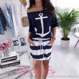 Къса дамска рокля с морски мотиви