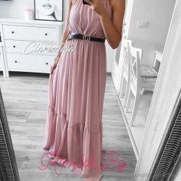 Дълга дамска рокля с колан