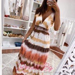 Дамска дълга рокля с V-образно деколте