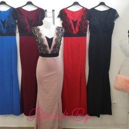 Дамска официална дълга рокля с V-образно деколте