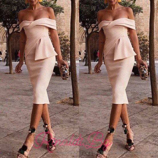 Дамска рокля с паднали рамене