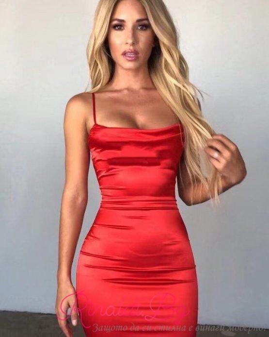 Дамска сатенена рокля с чашки