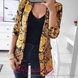 Дамско сако със златисти мотиви