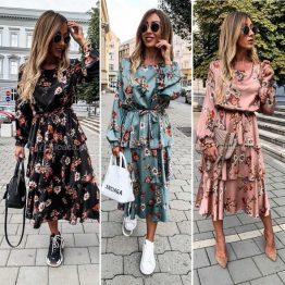 """Дамска сатенена рокля с цветя """"Феличита"""""""