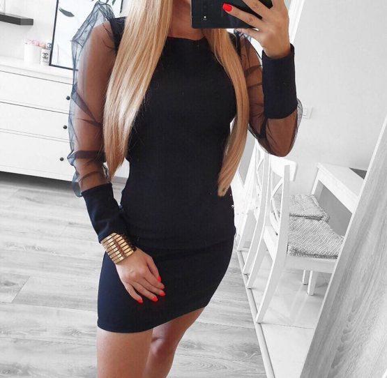 Дамска черна рокля с прозрачни ръкави