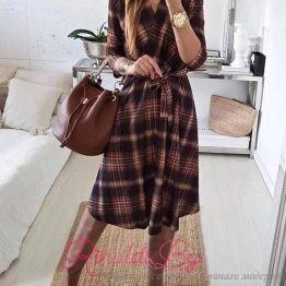 Ежедневна дамска рокля Каре