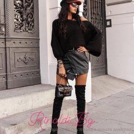 Дамска кожена асиметрична пола