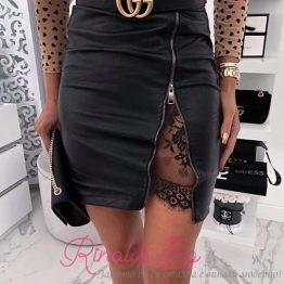 Дамска кожена пола с цип