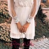 Дамска рокля с тюл и плетиво