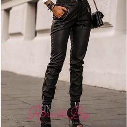 Дамски кожен панталон с връзки и ципове