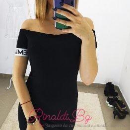 Дамска черна рокля с надписи