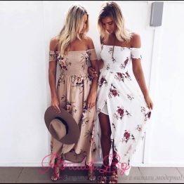 Дамска дълга рокля с цветя