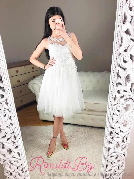 "Дамска рокля с бродерия и дантела ""Феличе"""