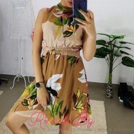 """Дамска рокля с цветя """"Брауни"""""""