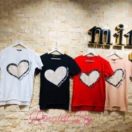 Дамска тениска с пайети и перли Сърце