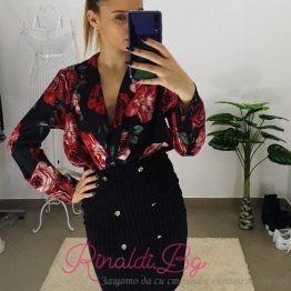 Сатенено дамско боди-риза с рози