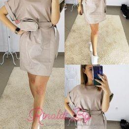 Дамска кожена рокля с чантичка