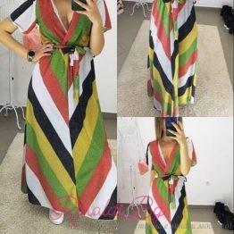 Дамска шарена дълга рокля