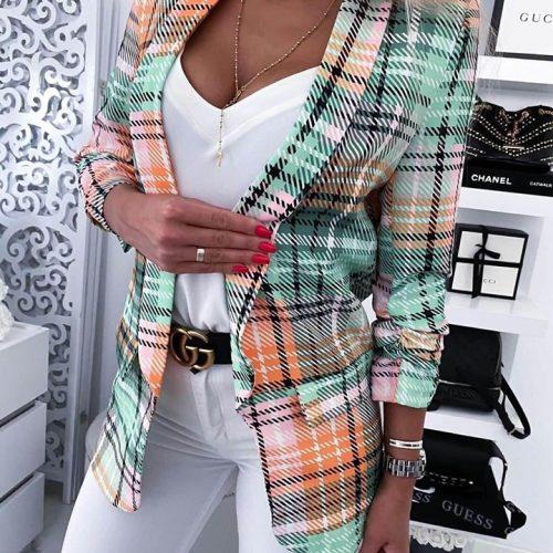 Дамско цветно раирано сако