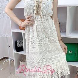 Дамска дантелена бяла рокля