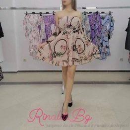Цветна дамска рокля шифон различни видове