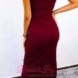 Дълга рокля с цип и капси