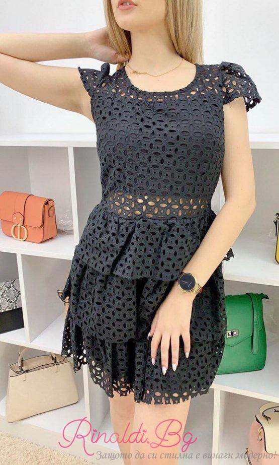 Дамска черна дантелена рокля