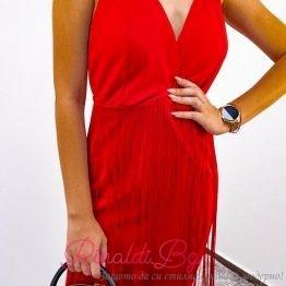 Дамска рокля с ресни и дълбоко деколте