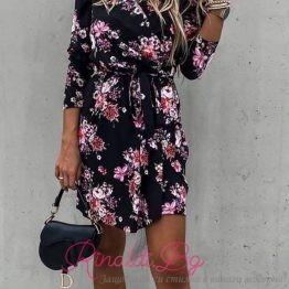 Дамска рокля черна с цветя
