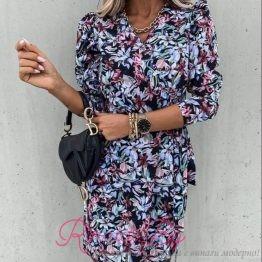 Дамска рокля с разноцветни флорални мотиви