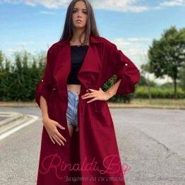 Дамско дълго велурено палто