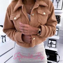 Дамско дебело якенце със златни копчета
