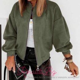 Дамско велурено яке с цип