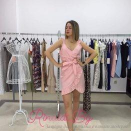 Секси къса рокля с колан и деколте