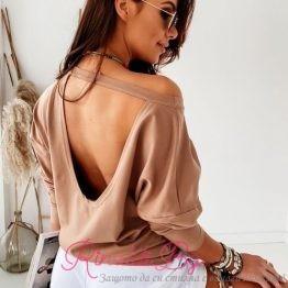 Дамска блуза с гол гръб и набрани ръкави