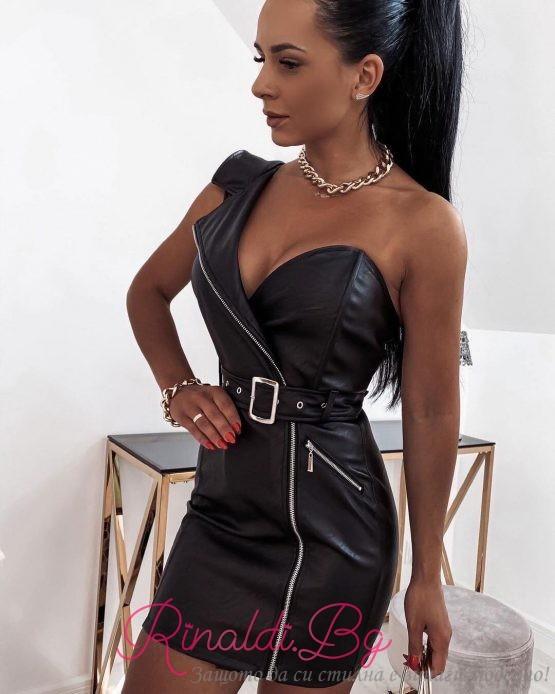 Дамска кожена рокля с едно рамо