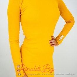 Дамска рокля рипс със златни копчета