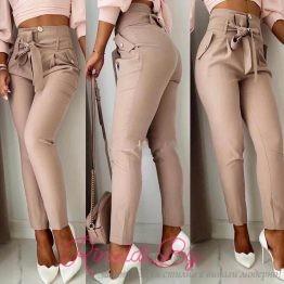 Дамски панталон с висока талия и панделка