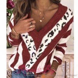 Дамски пуловер с V-образно деколте