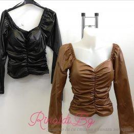 Дамска кожена блуза с набрани елементи